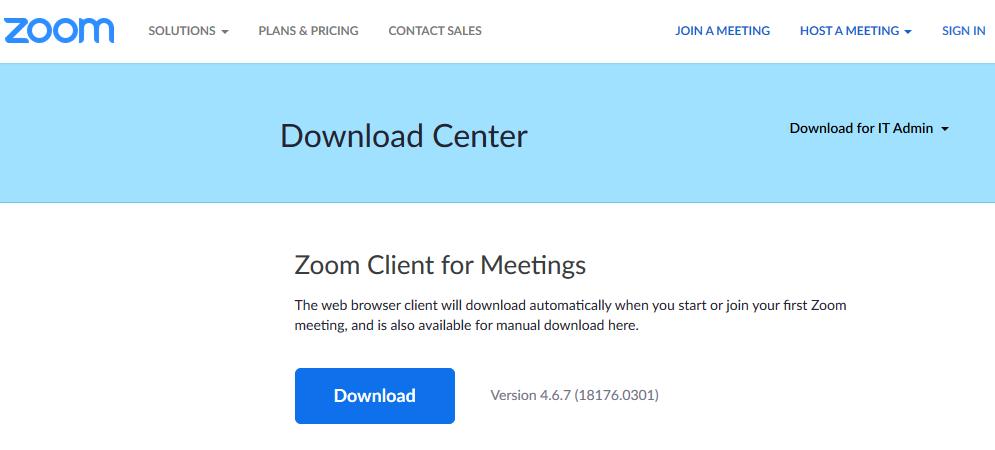Útmutató a Zoom alkalmazás használatához: Zoom download center
